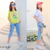 d1-2131 Костюм двойка на мальчика: футболка+джинсы капри, х/б, 9-13 лет, 1 пачка (4 шт)