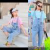 d1-2133 Костюм двойка на девочку: футболка+комбинезон, 8-12 лет, 1 пачка (4 шт)