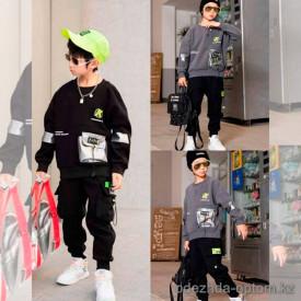d1-2101 Костюм на мальчика двойка: штаны и свитшот, 5-10 лет, подклад-велюр, 1 пачка (5 шт)