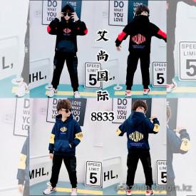 d1-8833 Костюм на мальчика двойка: штаны и худи, 7-10 лет, подклад-велюр, 1 пачка (4 шт)