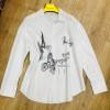 w11-0013 Рубашка женская с рисунком, стандарт, хб, 1 шт