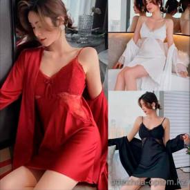 b5-2021-6 Комплект женского нижнего белья: сорочка и халат, M-XL, 1 пачка (3 шт)
