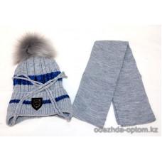 c1-369 Детская шапка с шарфом, 4-7 лет, 1 шт