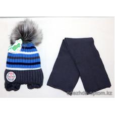 c1-375 Sirius Детская шапка с шарфом, 6-7 лет, 1 шт