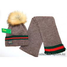 c1-376 Sirius Детская шапка с шарфом, 6-7 лет, 1 шт