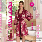 e1-2010-4 Miss Lolita Комплект женской домашней одежды: халат + сорочка, атлас, S-XL, 1 пачка (4 шт)