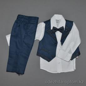 d4-9169 Terry Детский костюм на мальчика: жилет, брюки, рубашка, бабочка, 5-8 лет, 1 пачка (4 шт)