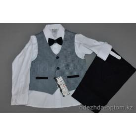d4-9712 Terry Детский костюм на мальчика: жилет, брюки, рубашка, бабочка, 5-8 лет, 1 пачка (4 шт)