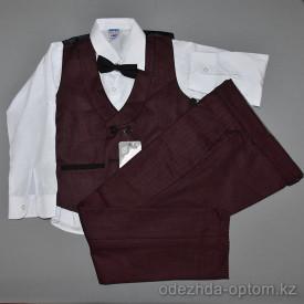 d4-3045 Детский костюм на мальчика: жилет, брюки, рубашка, бабочка, 5-8 лет, 1 пачка (4 шт)