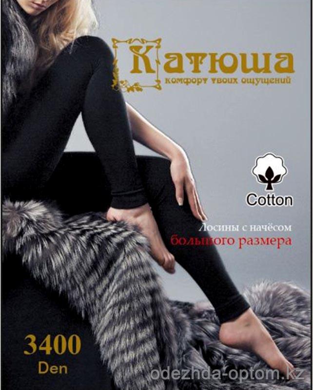 k4-cc14 Катюша Лосины х/б с начесом двухшовные, 3400 ден, 1 пачка (6 шт)