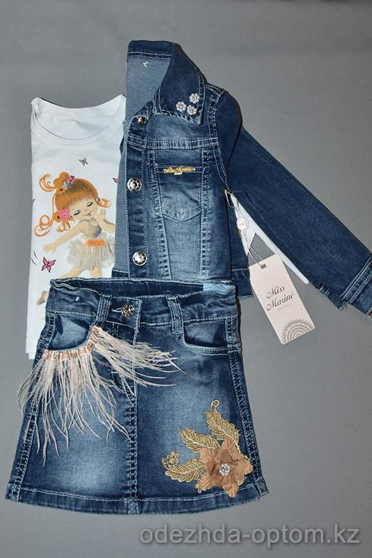 d4-0765 Детский джинсовый костюм с блузкой, 2-5 лет, 1 пачка (3 шт)
