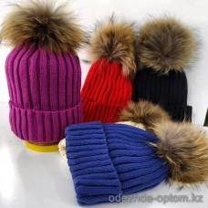 c1-362 Женская шапка без флиса, натуральный бубон, 1 шт