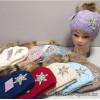 c1-365 Подростковая шапка на девочку, флис/мех енота, 1 шт