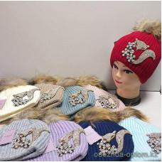 c1-366 Подростковая шапка на девочку, флис/мех енота, 1 шт